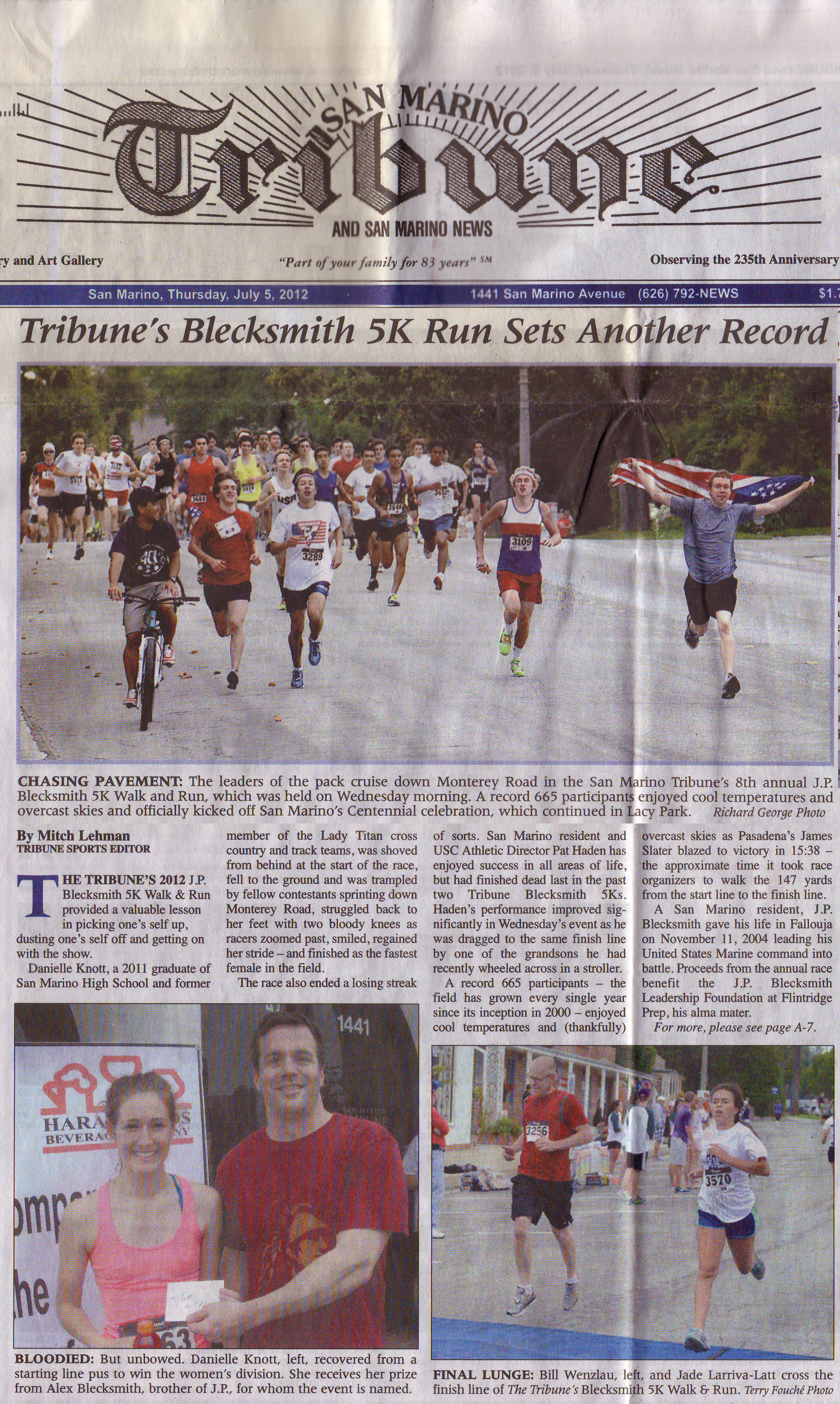 2012 Blecksmith - Front page of Tribune (full)
